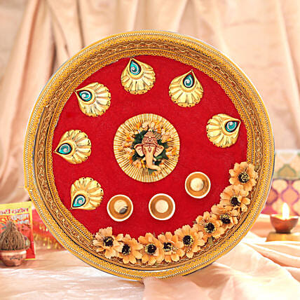 Red & Orange Floral Pooja Thali:Send Pooja Thali to Hyderabad