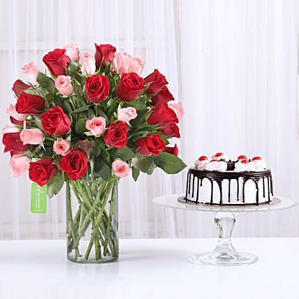 Mix Red n Pink roses with black forest cake