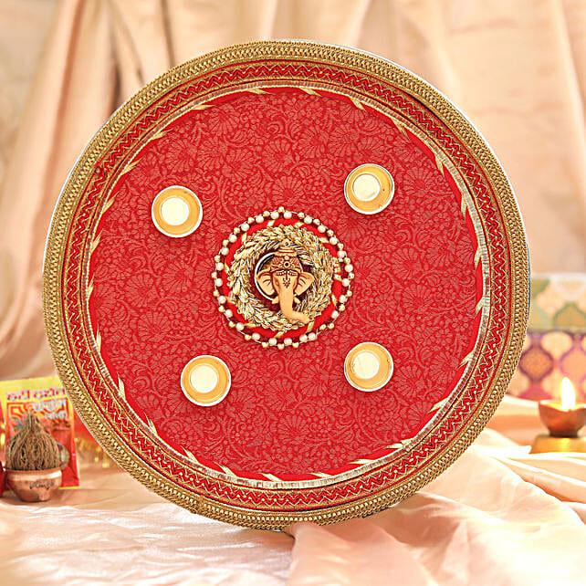 Red Printed Pooja Thali:Send Pooja Thali to Chennai