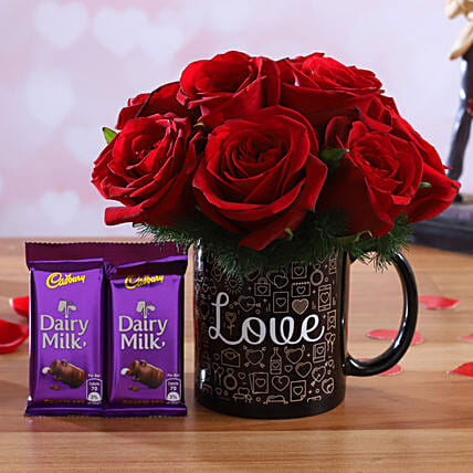 Red Roses Arrangement In Love Mug and Cadbury Dairy Milk