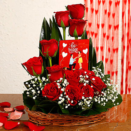 Red Roses Arrangement With Be Mine Table Top:Flower Basket