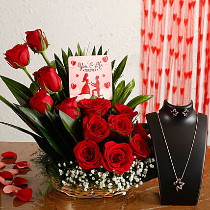 online floral arrangement with necklace set