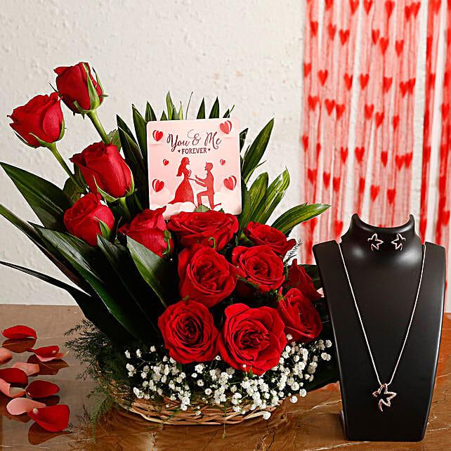 online floral arrangement with necklace set
