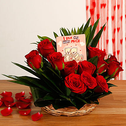 Red Roses Basket Arrangement With Printed Table Top