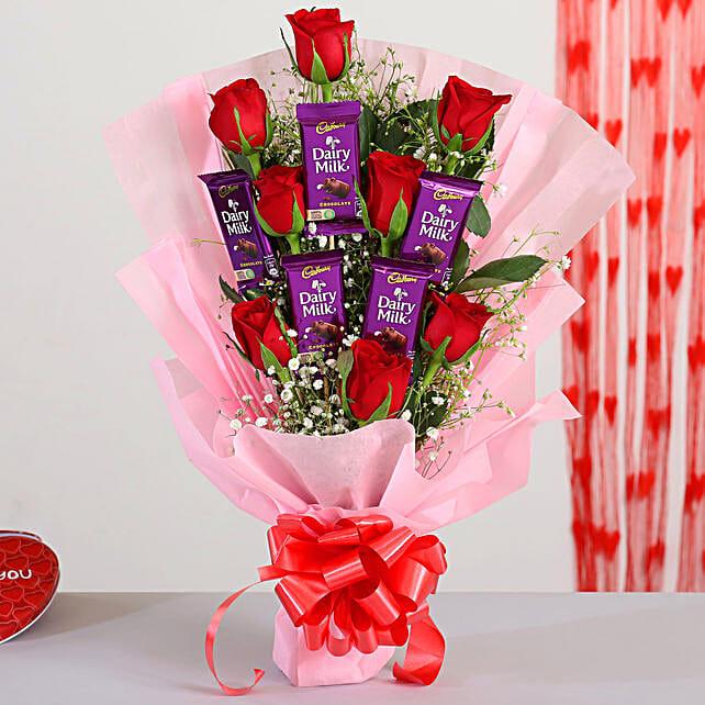 Red Roses Bouquet Dairy Milk Chocolates
