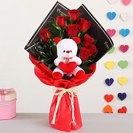 Red Roses Bouquet Teddy Bear Combo