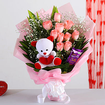 Red Roses Bouquet With Chocolate Teddy