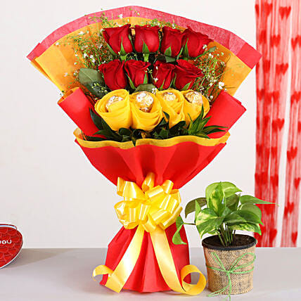 Red Roses Bouquet With Money Plant Ferrero Rocher