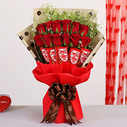 Red Roses Bouquet With Nestle Kitkat Chocolates