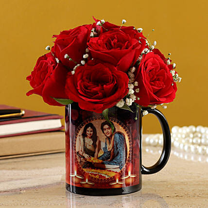 Red Roses Bunch In Black Personalised Mug