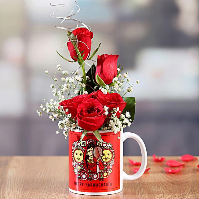 Red Roses In Karwa Chauth Printed Mug