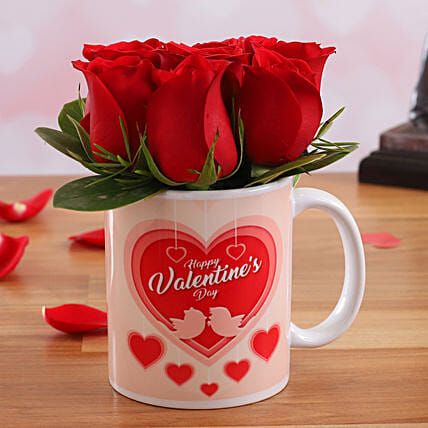 Red Roses In Love Birds Mug