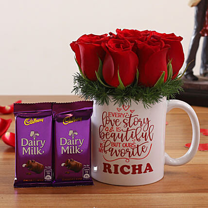 Red Roses In Personalised V Day Mug and Cadbury Dairy Milk