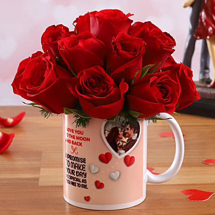 Red Roses In Personalised V-Day Mug