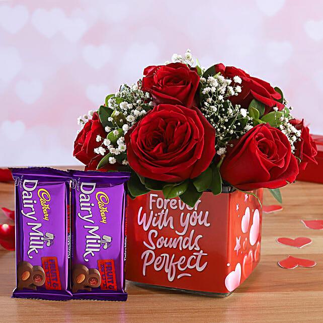 Red Roses In Sticker Vase and Cadbury Fruit N Nut