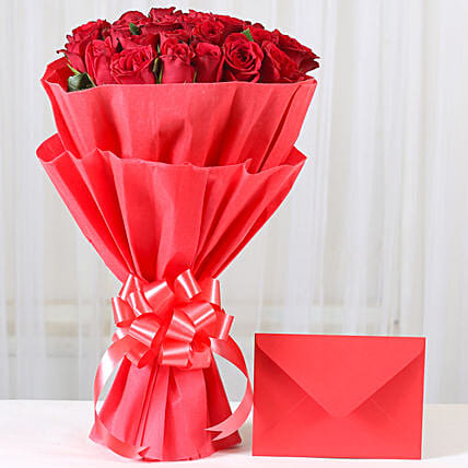 Red Roses N Greeting card - Bunch of 25 Red Roses with greeting card. gifts:Buy Greeting Cards
