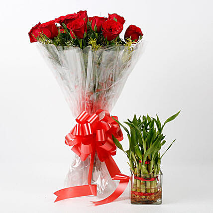 elegant rose bouquet with lucky bamboo:Send Flowers N Plants