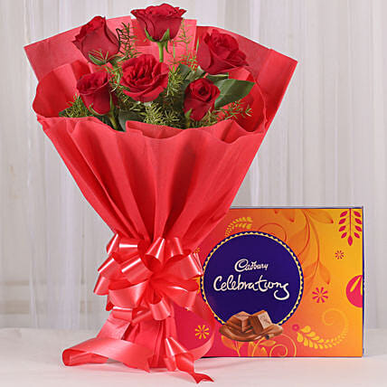 Red Sensation - Bunch of 6 Red Roses with Cadbury Celebration  box.:Flower With Chocolate