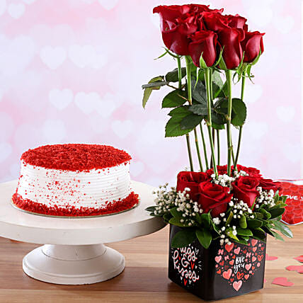 Red Velvet Cake & Love You Red Roses Combo:Red Velvet Cake