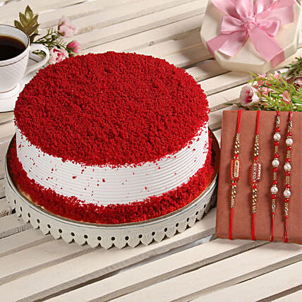 Online Cake With Family Rakhi Sets