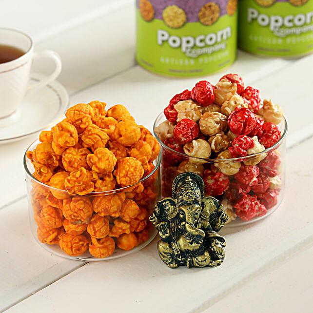 Red Velvet & Cheesy Sriracha Popcorn With Ganesha:Premium Popcorns