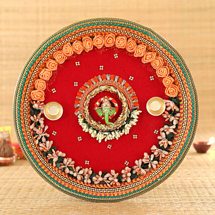 Red Velvet Steel Pooja Thali