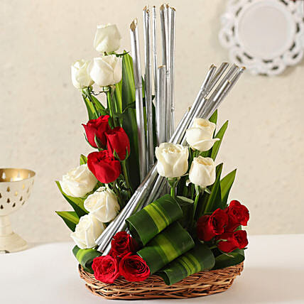 Online Red & White Roses  Combo:Flower Basket