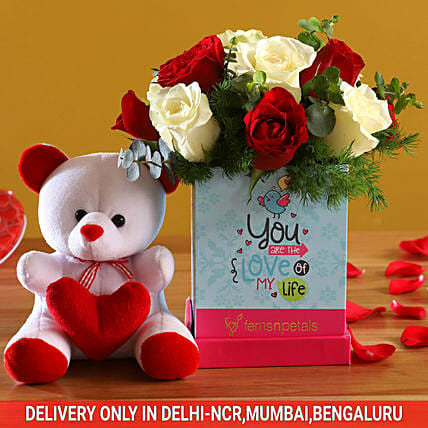 Red & White Roses For Love & Cute Teddy