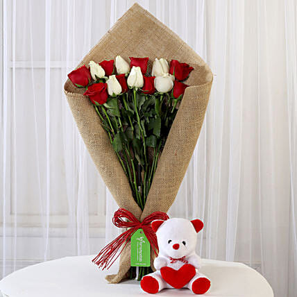 Red and White Roses and Teddy Bear Online