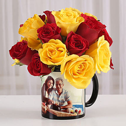 Lovely mix roses with printed mug