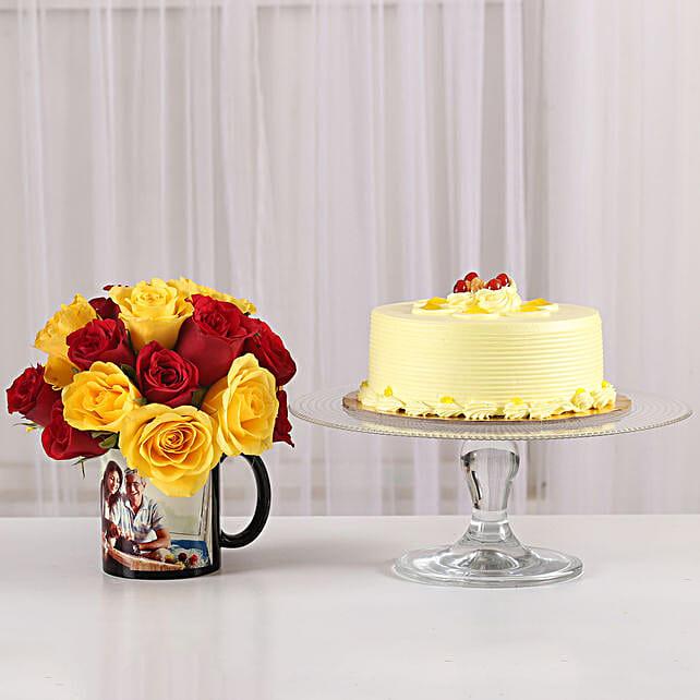 roses and printed mug or cake online