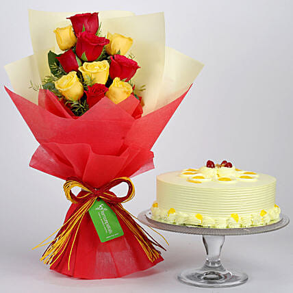 Red and Yellow Roses Bouquet and Cake Online