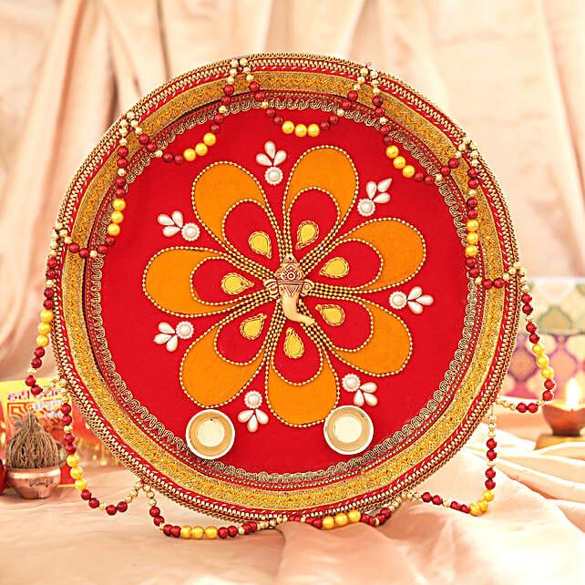 Red & Yellow Tassel Pooja Thali:Pooja Thali to Chennai