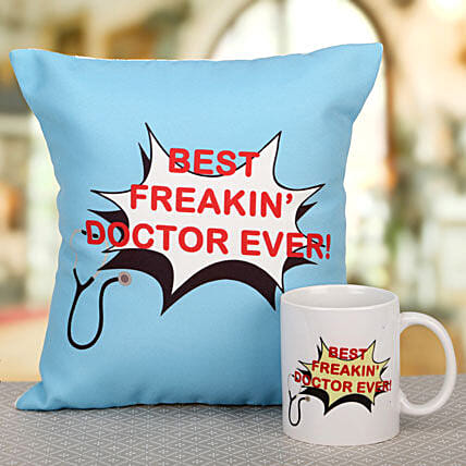 Relaxing Combo-Best Doctor Mug,Best Doctor cushion:Gifts for Doctor