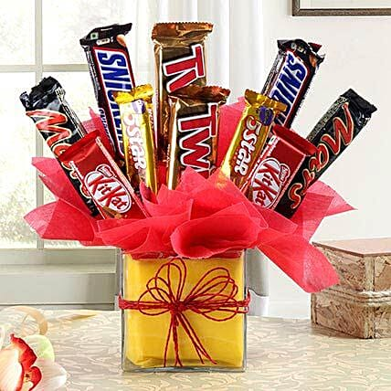 Chocolate Bars in Glass Vase:Unique Gifts For Boys