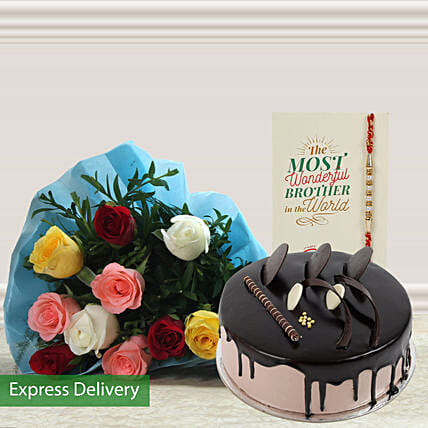 Chocolate cake with rakhi and roses bunch