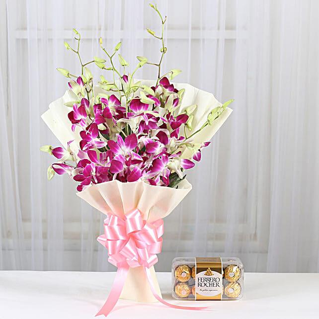 Blue orchids bouquet with ferrero rocher