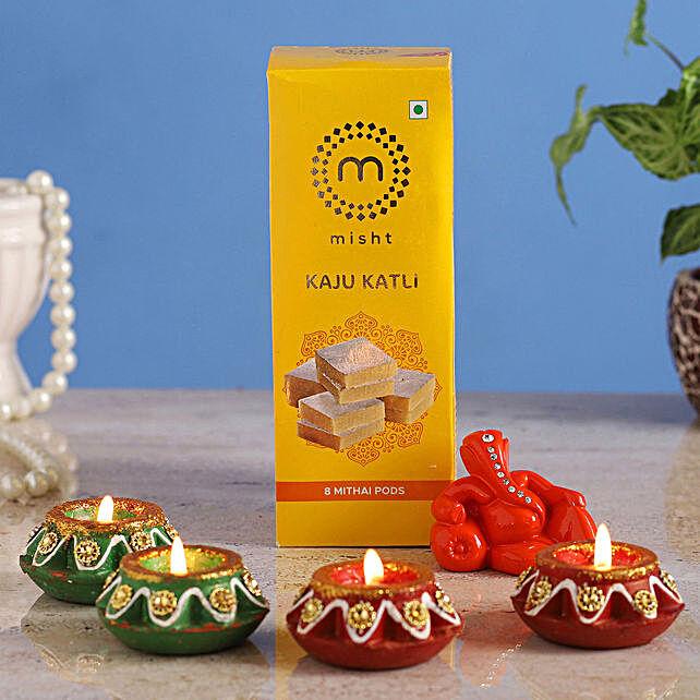 Online Resting Ganesha Idol With Diyas & Kaju Katli:Diwali Gift Ideas For Family