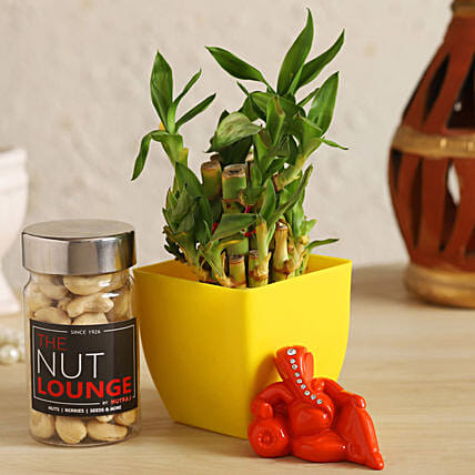Resting Ganesha With Lucky Bamboo & Cashews