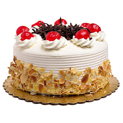 Rich Black Forest With Almond Flakes Cake