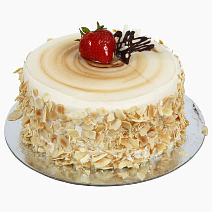 Rich Caramel Almond Flakes Cream Cake