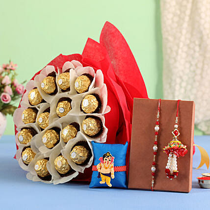 Pearly rakhi with Ferrero Rocher Bouquet online