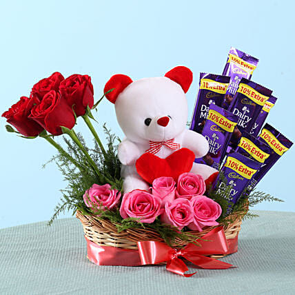 Romantic Mixed Roses Chocolate Surprise