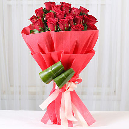 Bunch of 20 red roses with draceane leaves gifts:Anniversary Flowers