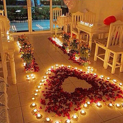 Romantic Rose petals and Candles Decorations