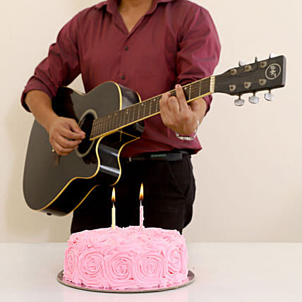 delicious cake with guitar wish combo