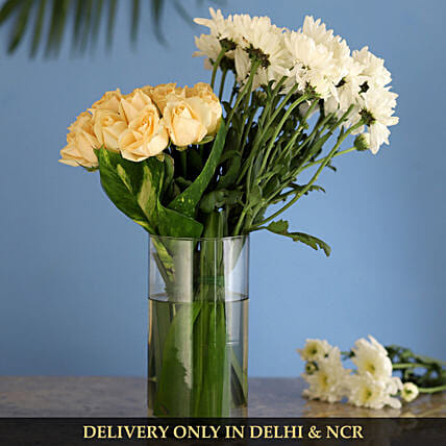 flower in glass vase arrangement