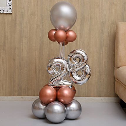 Rose Gold And Silver Numeric Balloon Bouquet:Balloons Decorations