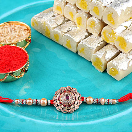 Rose Gold Coloured Rakhi Combo