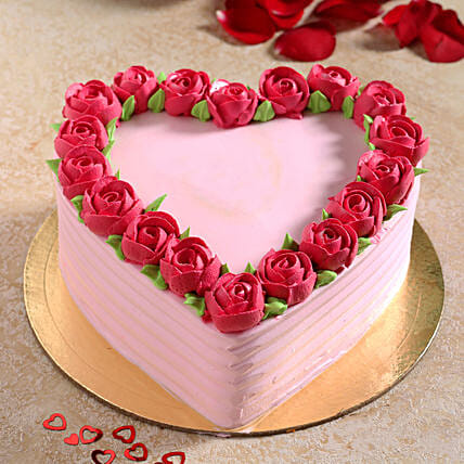 Rose Heart Chocolate Cream Cake